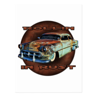 Rollin in rust Tail Dragger Chopped Chevy Postcard