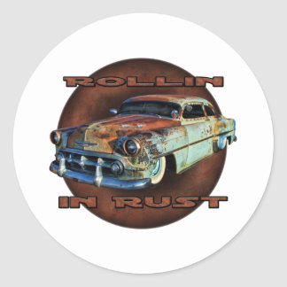 Rollin in rust Tail Dragger Chopped Chevy Round Sticker