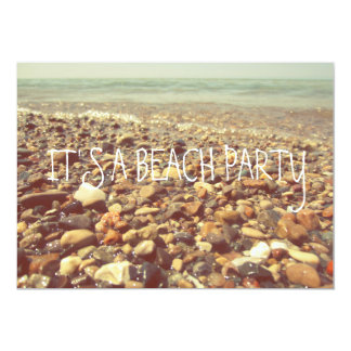 "Rolling Beach Waves Beach Rocks Lake Michigan 5"" X 7"" Invitation Card"