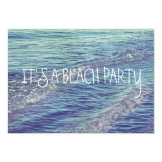 Rolling Beach Waves Blue Lake Michigan Ocean 13 Cm X 18 Cm Invitation Card
