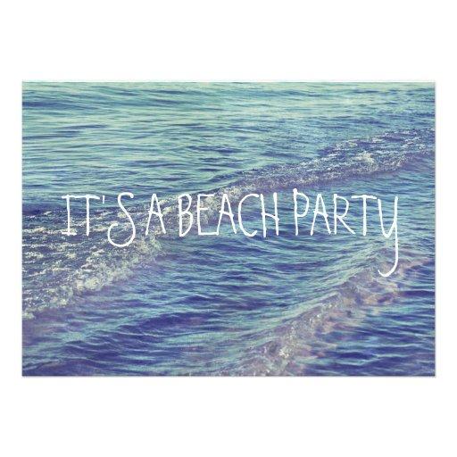 Rolling Beach Waves Blue Lake Michigan Ocean Custom Invitation