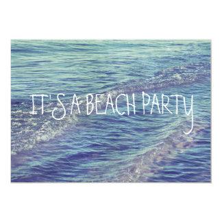 "Rolling Beach Waves Blue Lake Michigan Ocean 5"" X 7"" Invitation Card"