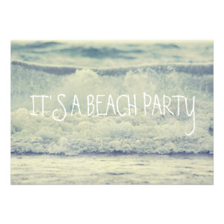 Rolling Beach Waves Custom Invite