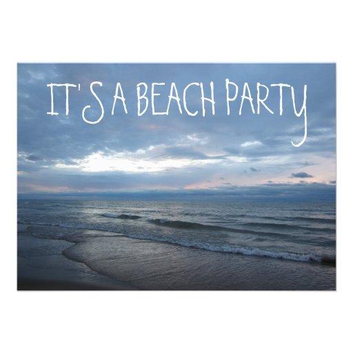 Rolling Beach Waves Sunset Lake Michigan Ocean Invitations
