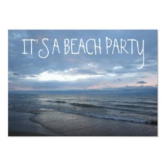 "Rolling Beach Waves Sunset Lake Michigan Ocean 5"" X 7"" Invitation Card"