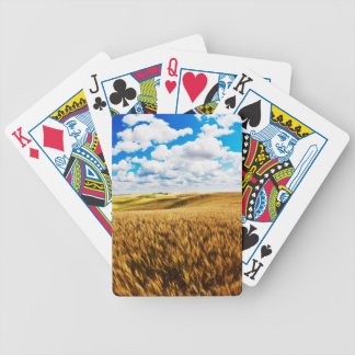 Rolling hills of ripe wheat bicycle playing cards