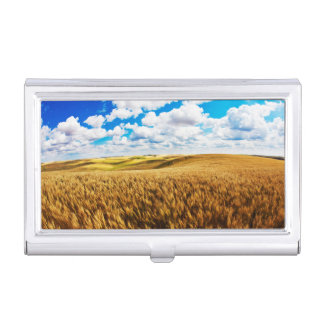 Rolling hills of ripe wheat business card case