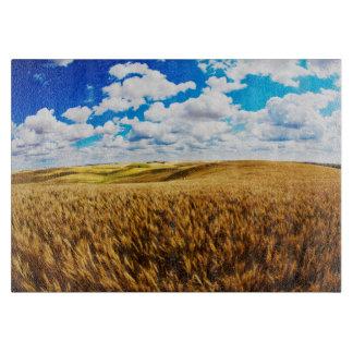 Rolling hills of ripe wheat cutting board