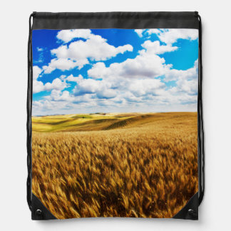 Rolling hills of ripe wheat drawstring bag