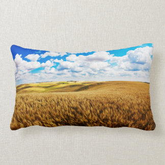 Rolling hills of ripe wheat lumbar cushion