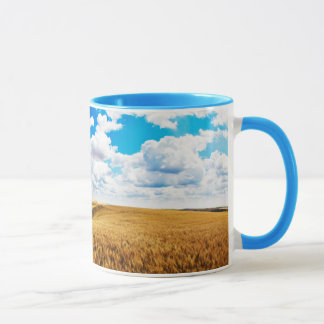 Rolling hills of ripe wheat mug