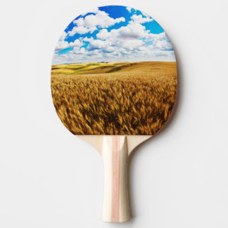 Rolling hills of ripe wheat ping pong paddle