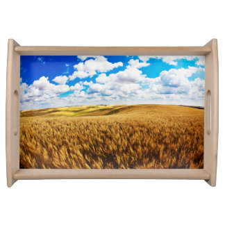 Rolling hills of ripe wheat serving tray