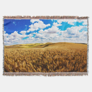 Rolling hills of ripe wheat throw blanket