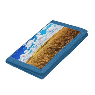 Rolling hills of ripe wheat tri-fold wallet