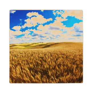 Rolling hills of ripe wheat wood coaster