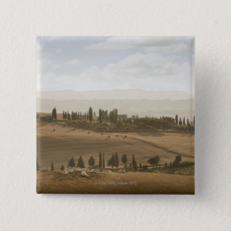 Rolling landscape, Tuscany, Italy 15 Cm Square Badge
