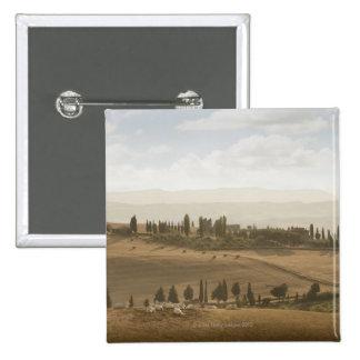 Rolling landscape, Tuscany, Italy 15 Cm Square Badge