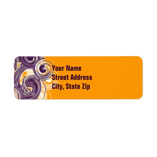 Rolling Purple Side Border Return Address Label