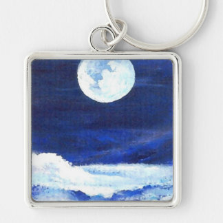Rolling Sea - CricketDiane Ocean Art Silver-Colored Square Key Ring