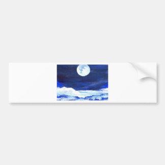 Rolling Sea Waves Under A Full Moon Ocean Bumper Sticker