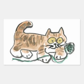 Rolling the Green Yarn Ball by Tiger Kitty Rectangular Sticker