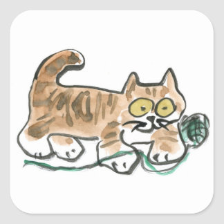 Rolling the Green Yarn Ball by Tiger Kitty Square Sticker