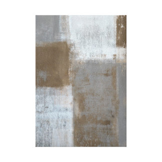 'Rolling With It' Grey and Brown Abstract Art Canvas Print