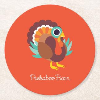 Rollo the Turkey Round Paper Coaster