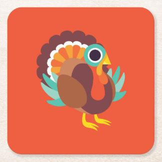 Rollo the Turkey Square Paper Coaster