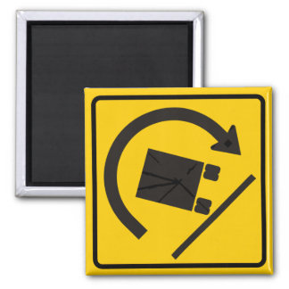 Rollover Hazard Highway Sign Square Magnet