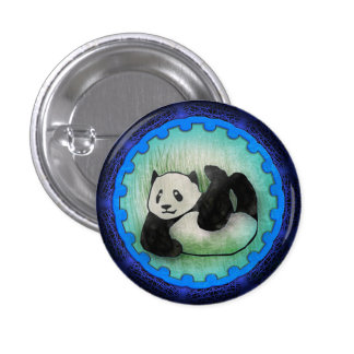 Rolly Polly Friendly Panda Pal in Blue 3 Cm Round Badge