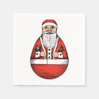 Rolly Polly Santa Toy White Paper Napkins
