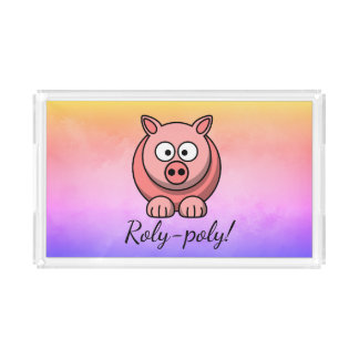Roly-poly Pastel Pink Pig Pigling Piggywiggy Acrylic Tray