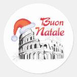 Roma Buon Natale Round Stickers