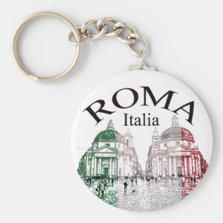 Roma Stamped Basic Round Button Key Ring