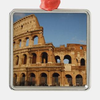 Roman Art. The Colosseum or Flavian 4 Silver-Colored Square Decoration