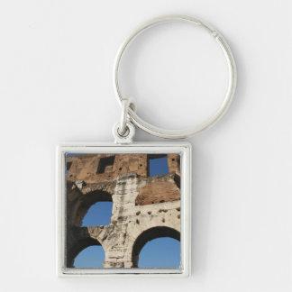 Roman Art. The Colosseum or Flavian 5 Silver-Colored Square Key Ring