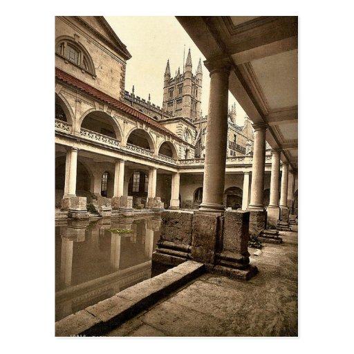 Roman Baths and Abbey, III, Bath, England classic Post Card