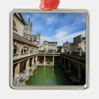 Roman Baths in Bath England Silver-Colored Square Decoration