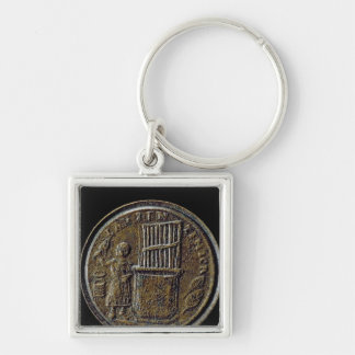 Roman coin depicting an Organ Silver-Colored Square Key Ring