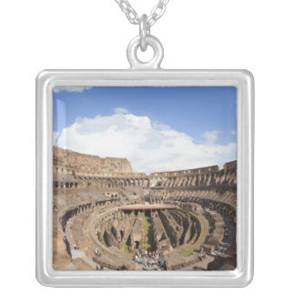 Roman Coliseum, fish eye view Silver Plated Necklace