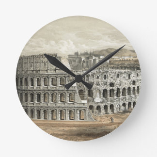 Roman Coliseum Vintage Art Round Clock