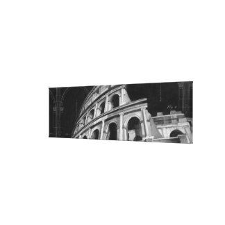 Roman Colosseum with Architectural Drawings Canvas Print