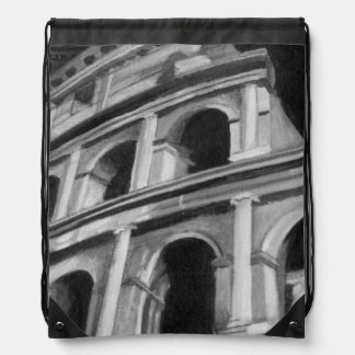 Roman Colosseum with Architectural Drawings Drawstring Bag