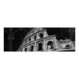 Roman Colosseum with Architectural Drawings Poster