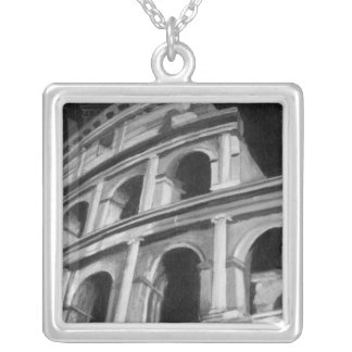 Roman Colosseum with Architectural Drawings Silver Plated Necklace