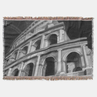 Roman Colosseum with Architectural Drawings Throw Blanket