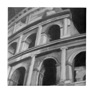 Roman Colosseum with Architectural Drawings Tile