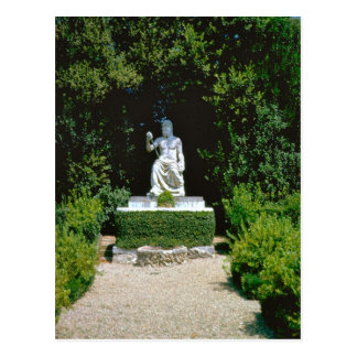 Roman deity in the garden postcard